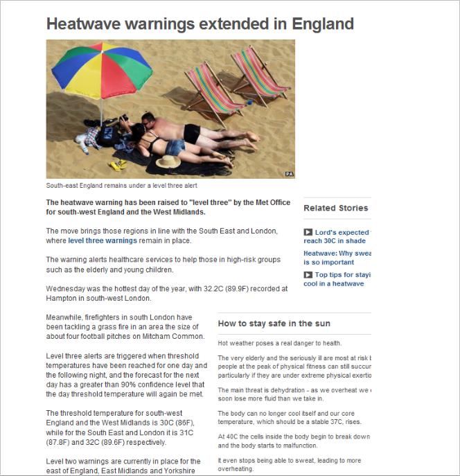 Heatwave Warnings Extended